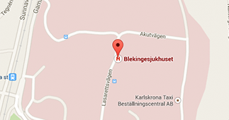 Karta över området där Blekingesjukhuset ligger.