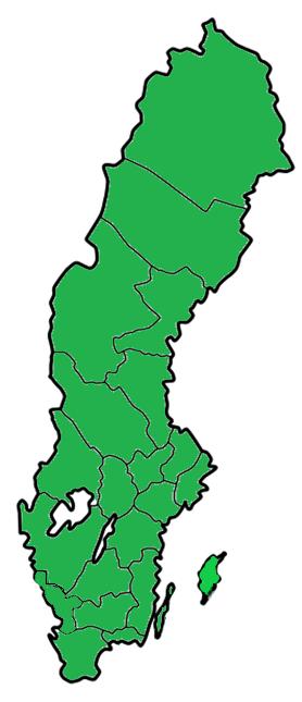 Grönfärgad Sverigekarta.