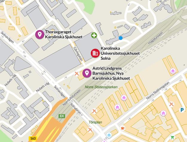 Karta över Svenska Traumaregistrets besöksadress i Solna.