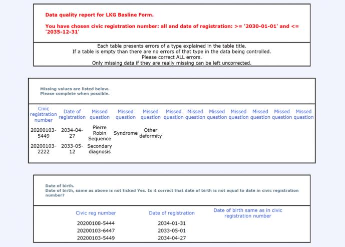 Exempel på datakvalitetsrapport i Computo.