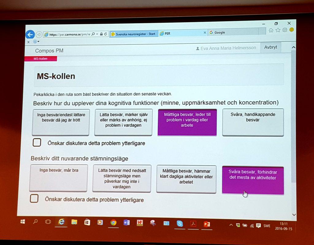 Exempel på registrering i MS-kollen.