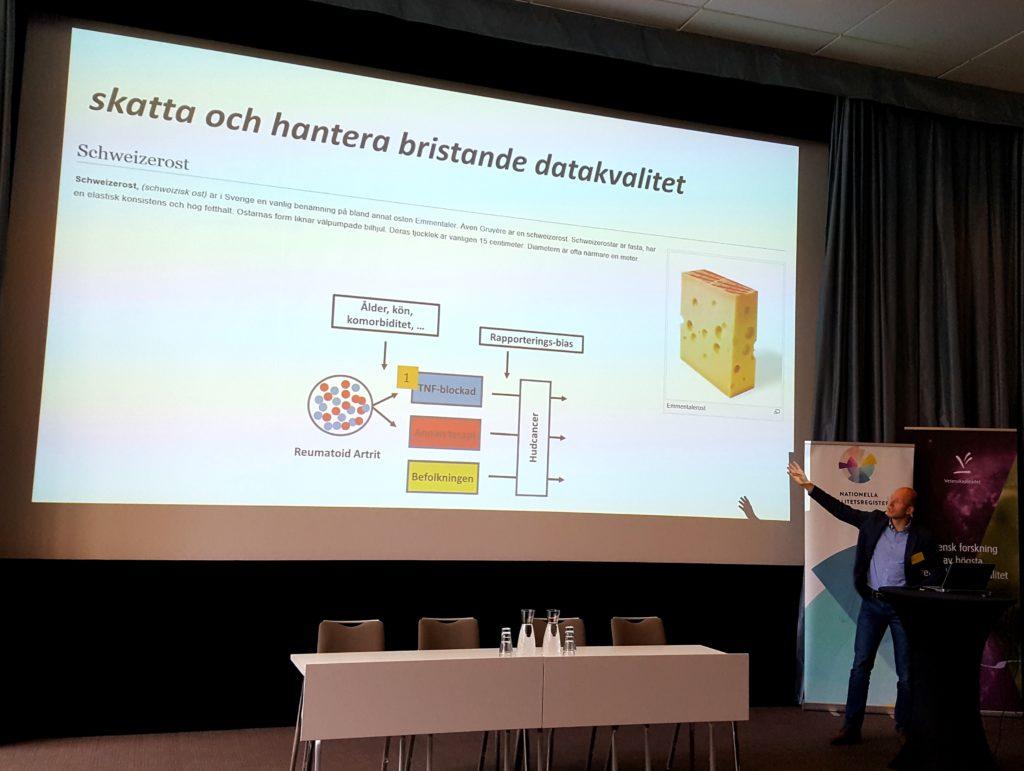 Johan Askling från Karolinska Institutet föreläste om komplexa registerkällor och strategier vid sammanlänkande av flera datakällor.