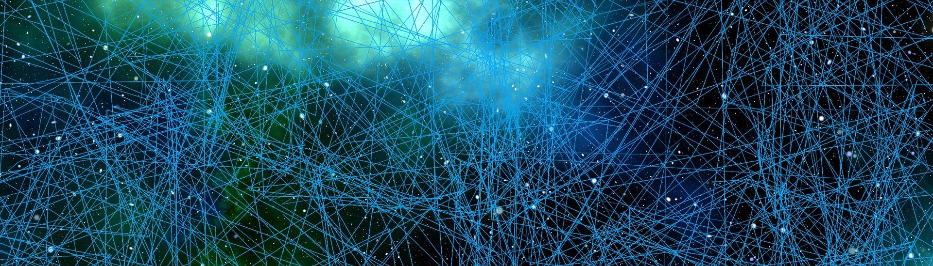 Nätverk i rymden, gröna och blåa nyanser.