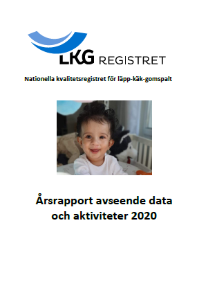 Miniatyr av framsidan på LKG-registrets årsrapport för 2020. Ett litet barn syns le mot kameran.