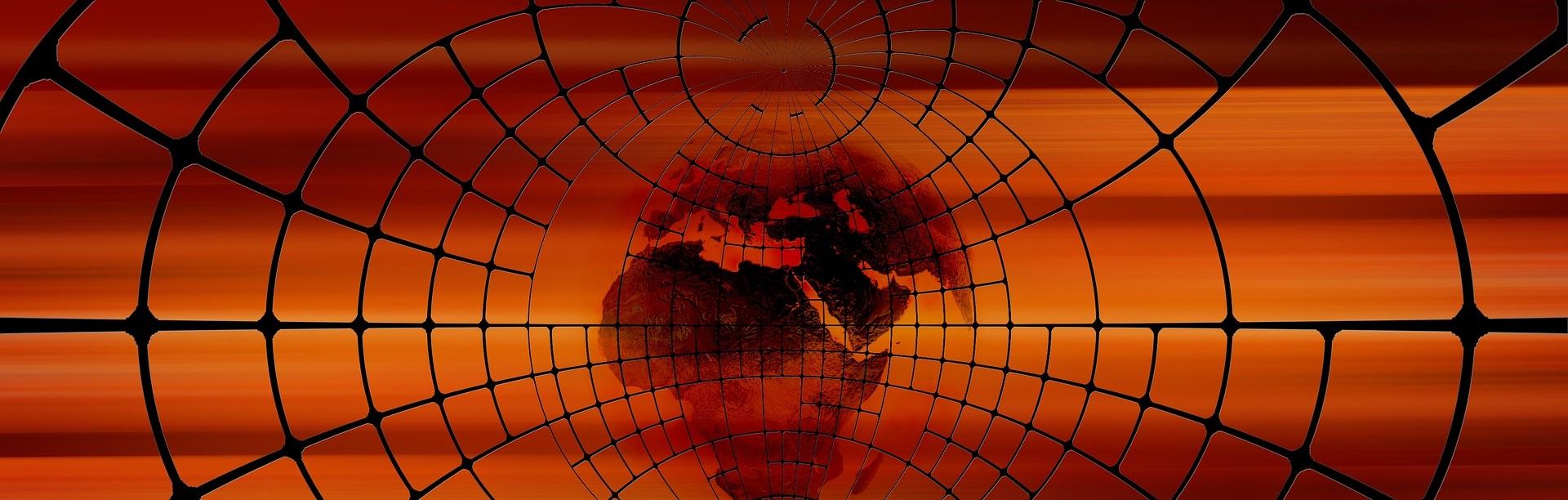 Världskarta i svart nät mot orange bakgrund.